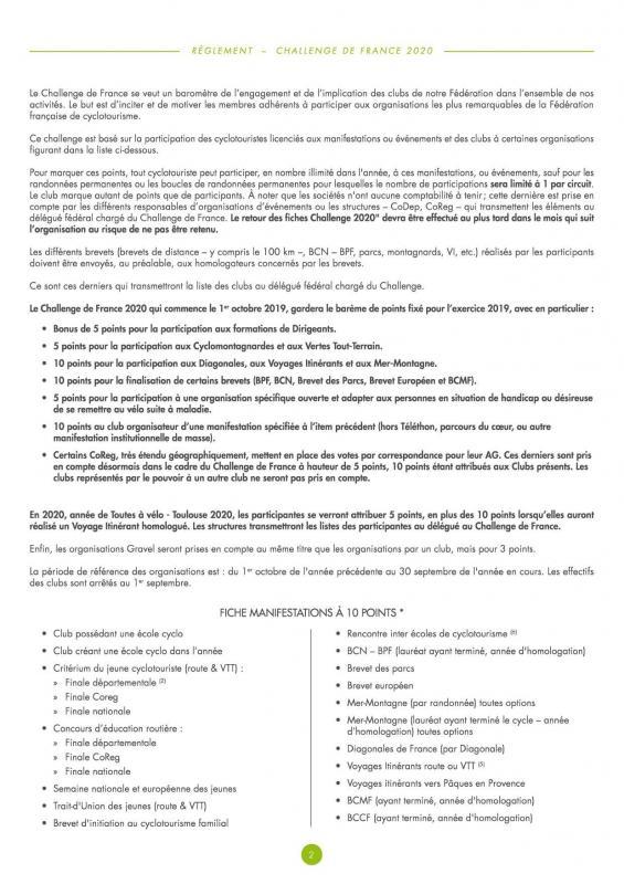 Reglement challenge de france 20202